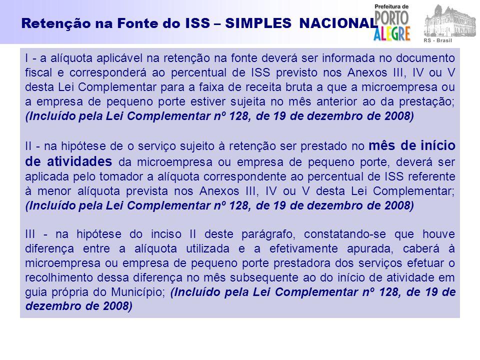 I - a alíquota aplicável na retenção na fonte deverá ser informada no documento fiscal e corresponderá ao percentual de ISS previsto nos Anexos III, I