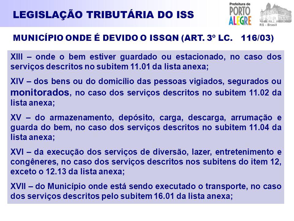 LEGISLAÇÃO TRIBUTÁRIA DO ISS XIII – onde o bem estiver guardado ou estacionado, no caso dos serviços descritos no subitem 11.01 da lista anexa; XIV –