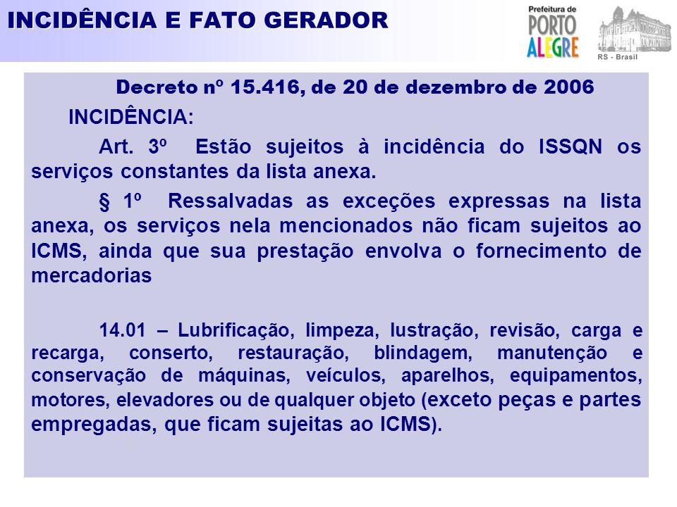 SUJEITO PASSIVO- CONTRIBUINTE Decreto nº 15.416, de 20 de dezembro de 2006 Art.