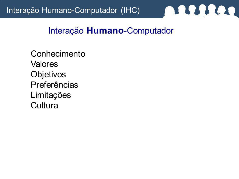 Interação Humano -Computador Interação Humano-Computador (IHC) Conhecimento Valores Objetivos Preferências Limitações Cultura