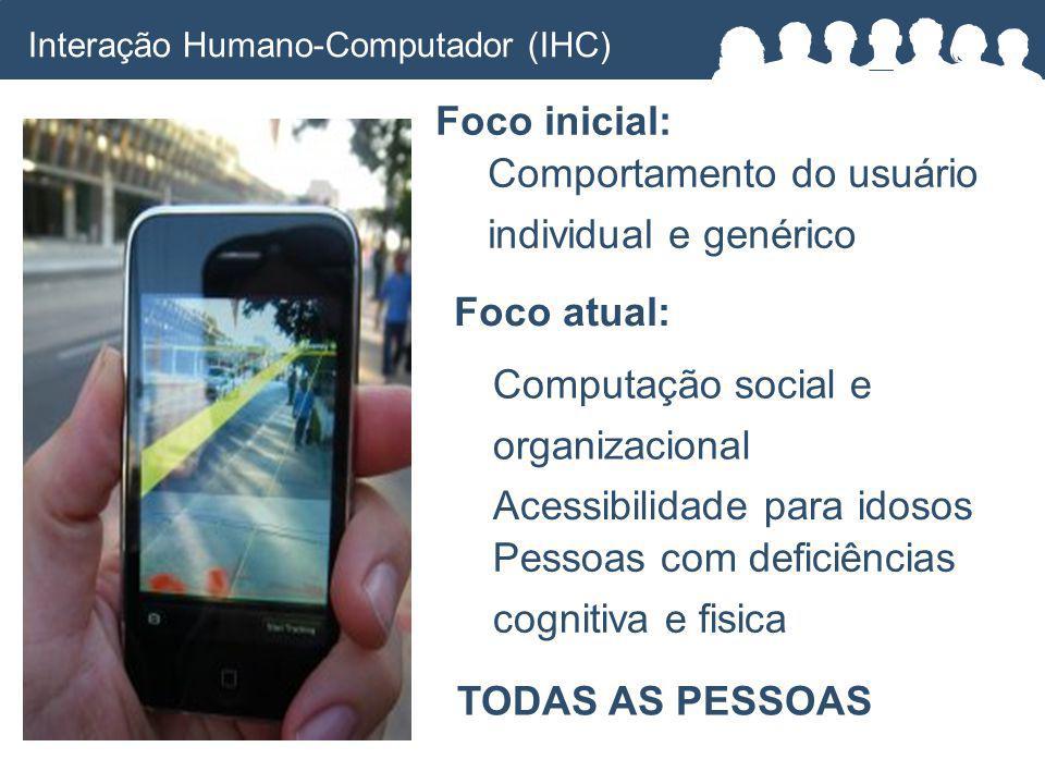 Foco inicial: Foco atual: Computação social e organizacional Acessibilidade para idosos Pessoas com deficiências cognitiva e fisica TODAS AS PESSOAS Comportamento do usuário individual e genérico Interação Humano-Computador (IHC)