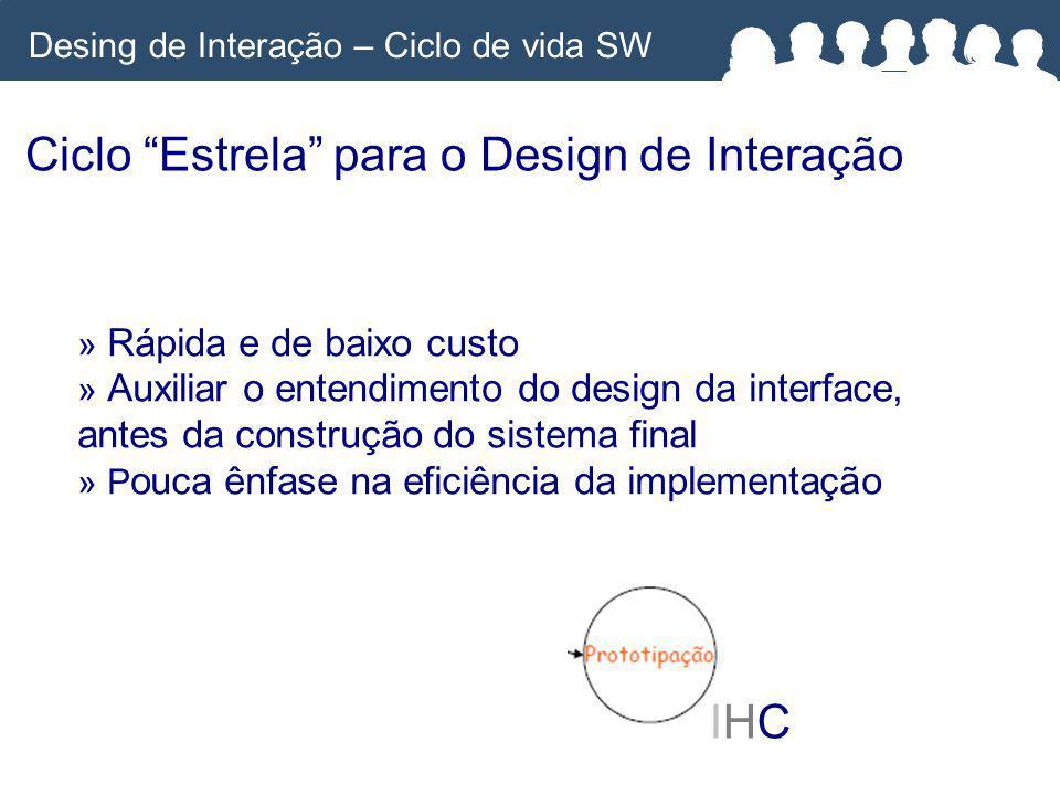 Ciclo Estrela para o Design de Interação IHCIHC » Rápida e de baixo custo » Auxiliar o entendimento do design da interface, antes da construção do sistema final » P ouca ênfase na eficiência da implementação Desing de Interação – Ciclo de vida SW