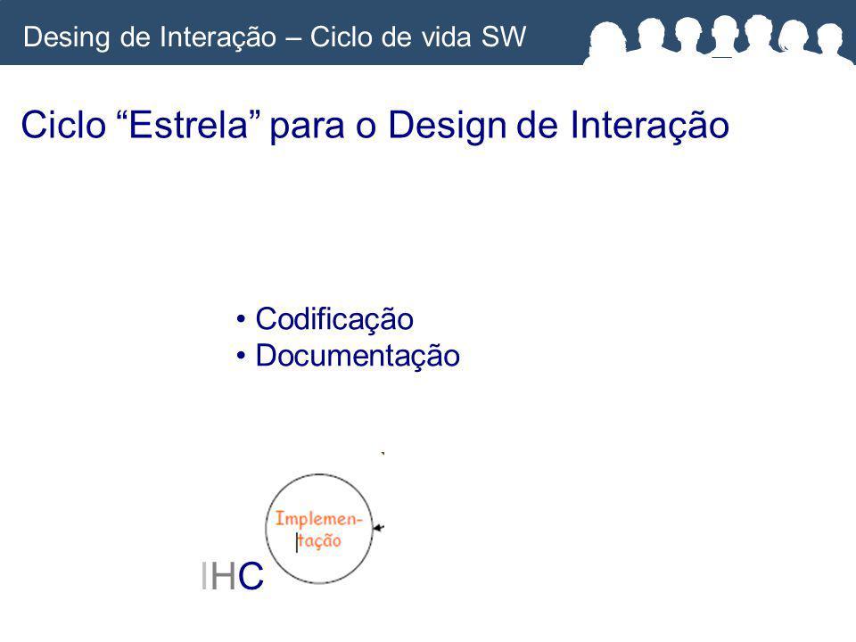Ciclo Estrela para o Design de Interação IHCIHC Codificação Documentação Desing de Interação – Ciclo de vida SW