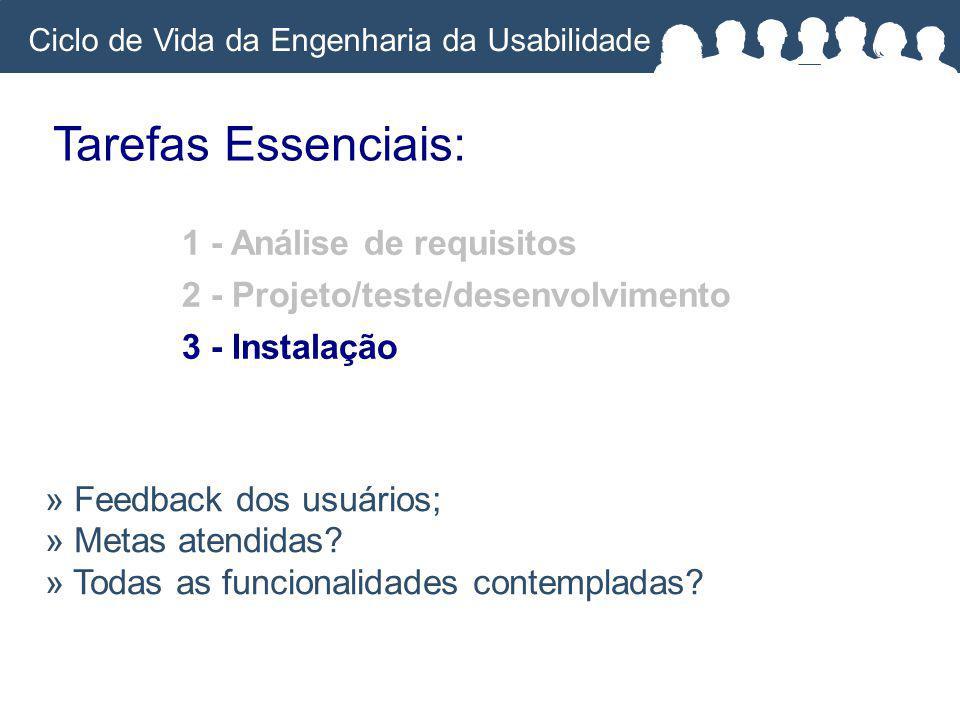 Ciclo de Vida da Engenharia da Usabilidade Tarefas Essenciais: » Feedback dos usuários; » Metas atendidas.