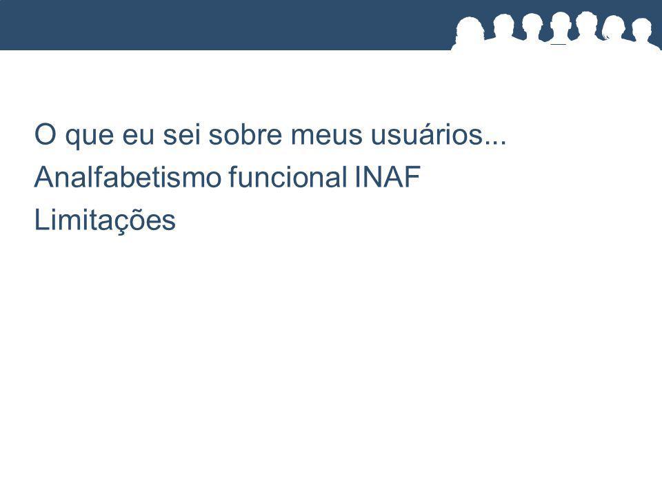 O que eu sei sobre meus usuários... Analfabetismo funcional INAF Limitações