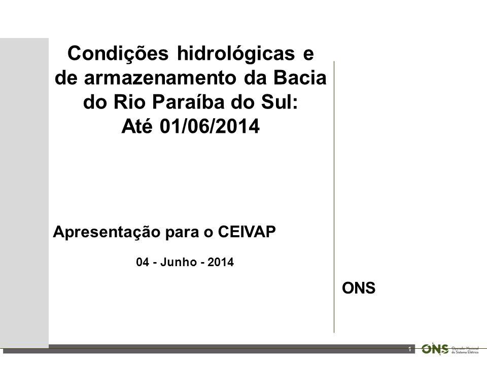 1 Condições hidrológicas e de armazenamento da Bacia do Rio Paraíba do Sul: Até 01/06/2014 Apresentação para o CEIVAP 04 - Junho - 2014 ONS