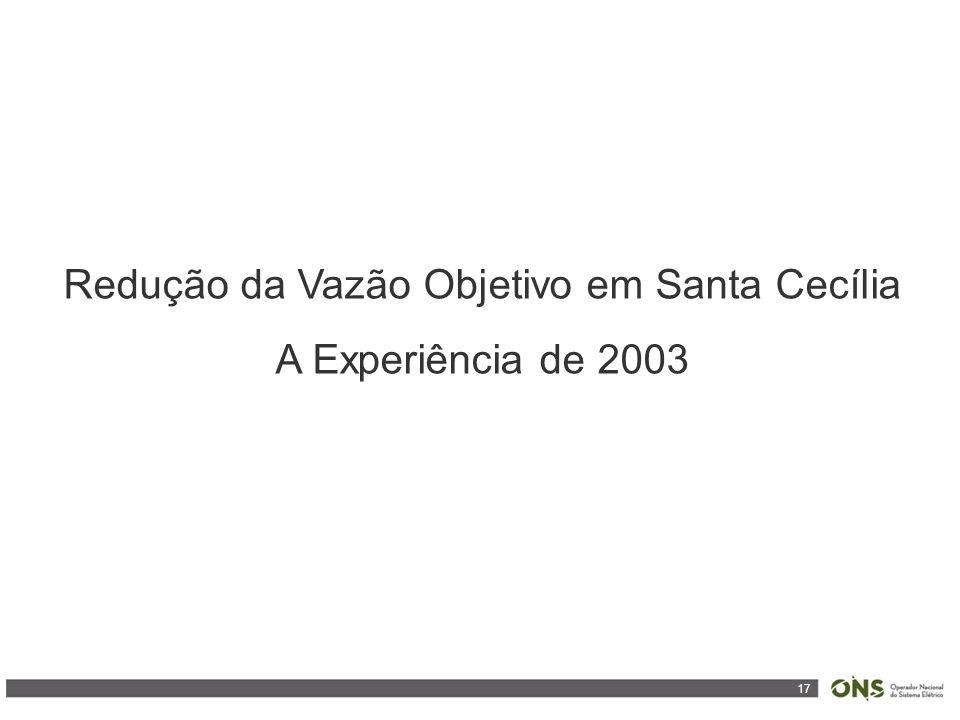 17 Redução da Vazão Objetivo em Santa Cecília A Experiência de 2003