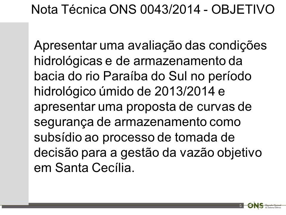 5 Nota Técnica ONS 0043/2014 - OBJETIVO Apresentar uma avaliação das condições hidrológicas e de armazenamento da bacia do rio Paraíba do Sul no perío