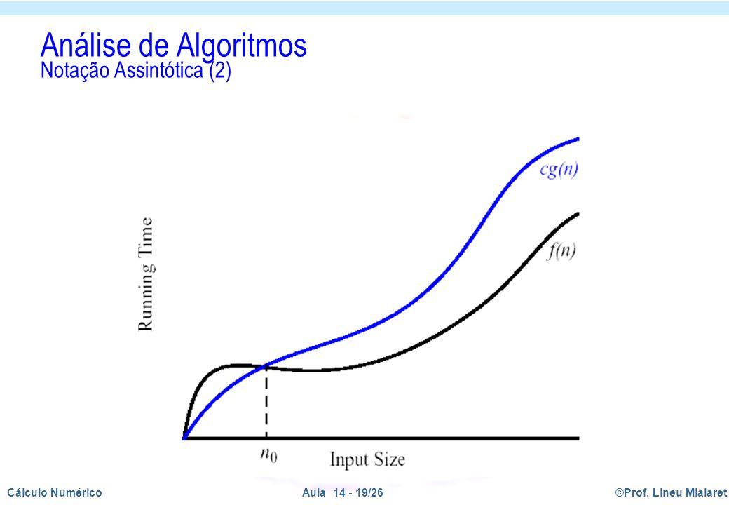©Prof. Lineu MialaretAula 14 - 19/26Cálculo Numérico Análise de Algoritmos Notação Assintótica (2)