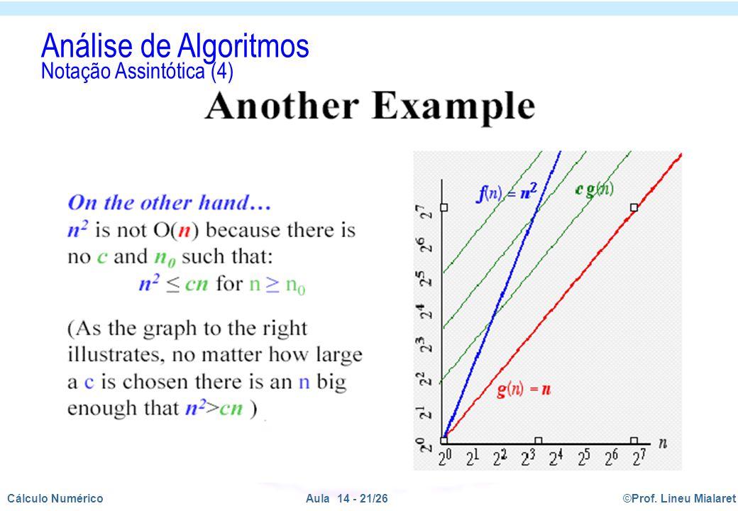 ©Prof. Lineu MialaretAula 14 - 21/26Cálculo Numérico Análise de Algoritmos Notação Assintótica (4)