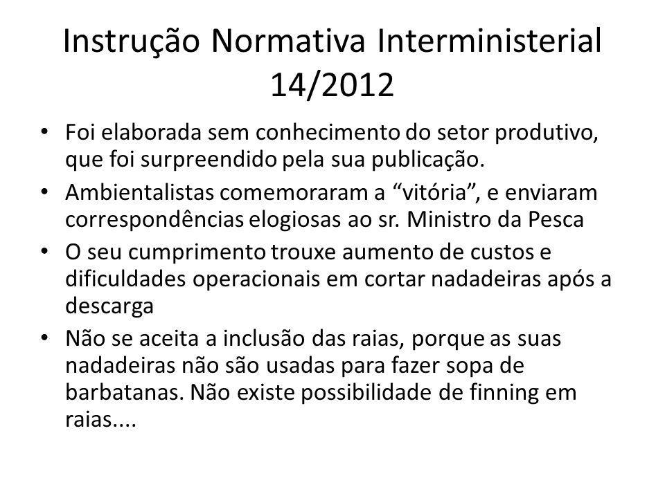 Instrução Normativa Interministerial 14/2012 Foi elaborada sem conhecimento do setor produtivo, que foi surpreendido pela sua publicação.