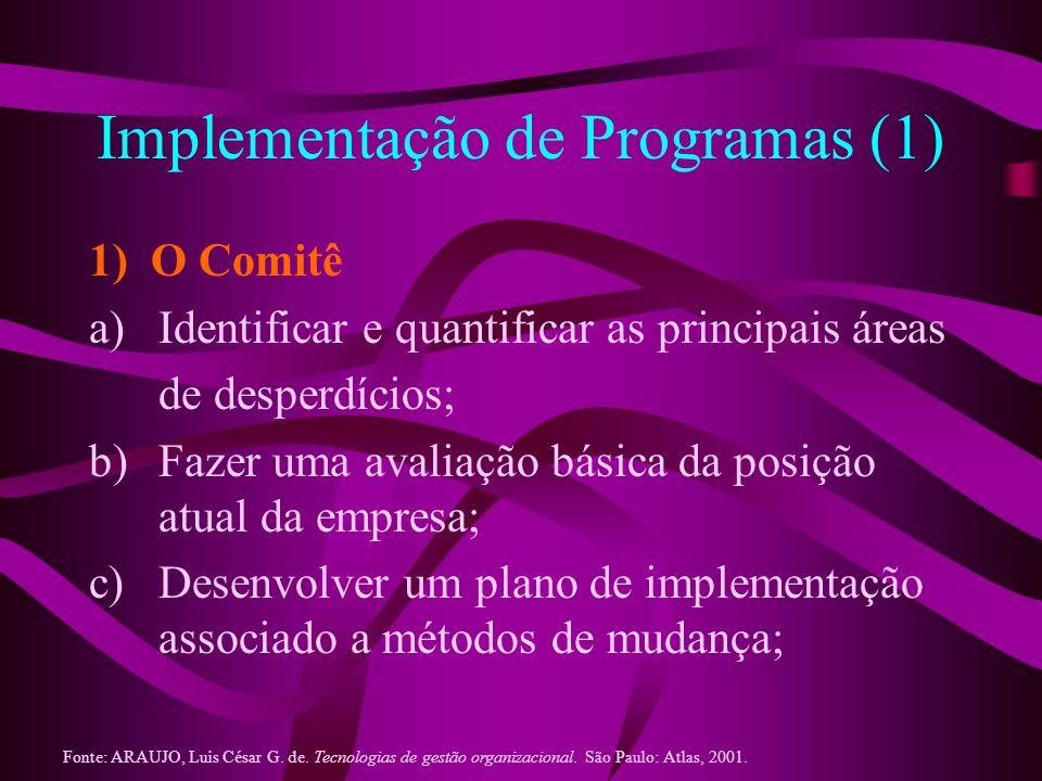 Implementação de Programas (2) Oferecer cursos de treinamento e de educação; Integrar o esforço de melhoria; Encorajar as pessoas a trabalhar de acordo com o novo processo; Alinhar o sistema de motivação/recompensa com o esforço da melhoria contínua; Fonte: ARAUJO, Luis César G.
