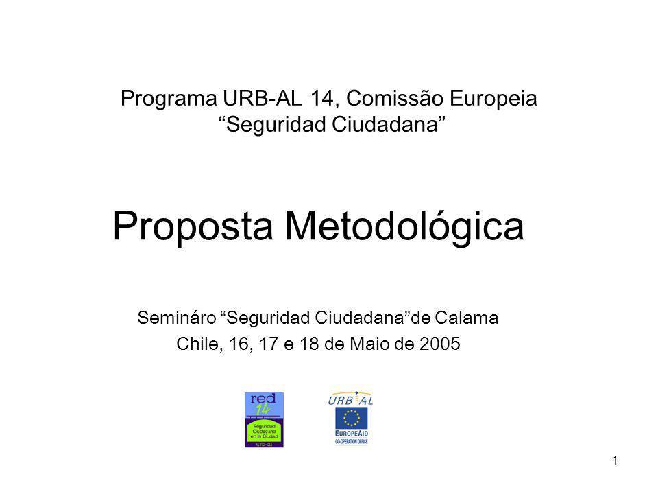 1 Programa URB-AL 14, Comissão Europeia Seguridad Ciudadana Proposta Metodológica Semináro Seguridad Ciudadana de Calama Chile, 16, 17 e 18 de Maio de 2005