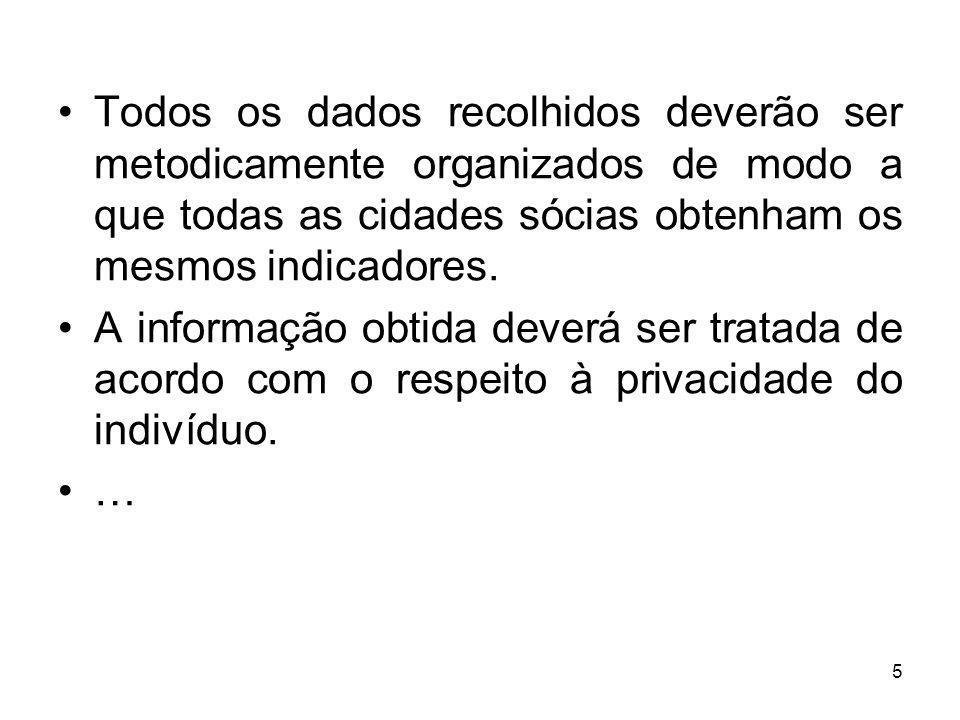 5 Todos os dados recolhidos deverão ser metodicamente organizados de modo a que todas as cidades sócias obtenham os mesmos indicadores.