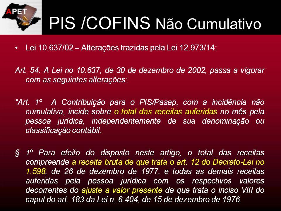 PIS /COFINS Não Cumulativo Lei 10.637/02 – Alterações trazidas pela Lei 12.973/14: Art. 54. A Lei no 10.637, de 30 de dezembro de 2002, passa a vigora