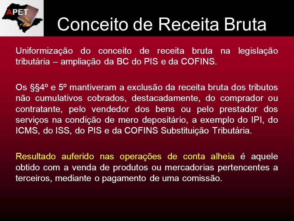 Conceito de Receita Bruta Uniformização do conceito de receita bruta na legislação tributária – ampliação da BC do PIS e da COFINS. Os §§4º e 5º manti