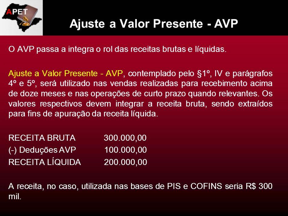 Ajuste a Valor Presente - AVP O AVP passa a integra o rol das receitas brutas e líquidas. Ajuste a Valor Presente - AVP, contemplado pelo §1º, IV e pa