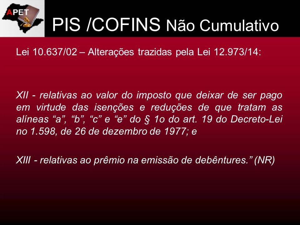 PIS /COFINS Não Cumulativo Lei 10.637/02 – Alterações trazidas pela Lei 12.973/14: XII - relativas ao valor do imposto que deixar de ser pago em virtu