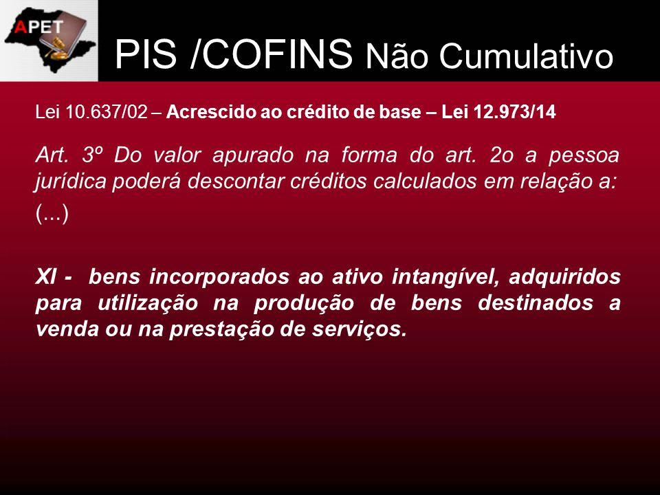 PIS /COFINS Não Cumulativo Lei 10.637/02 – Acrescido ao crédito de base – Lei 12.973/14 Art. 3º Do valor apurado na forma do art. 2o a pessoa jurídica