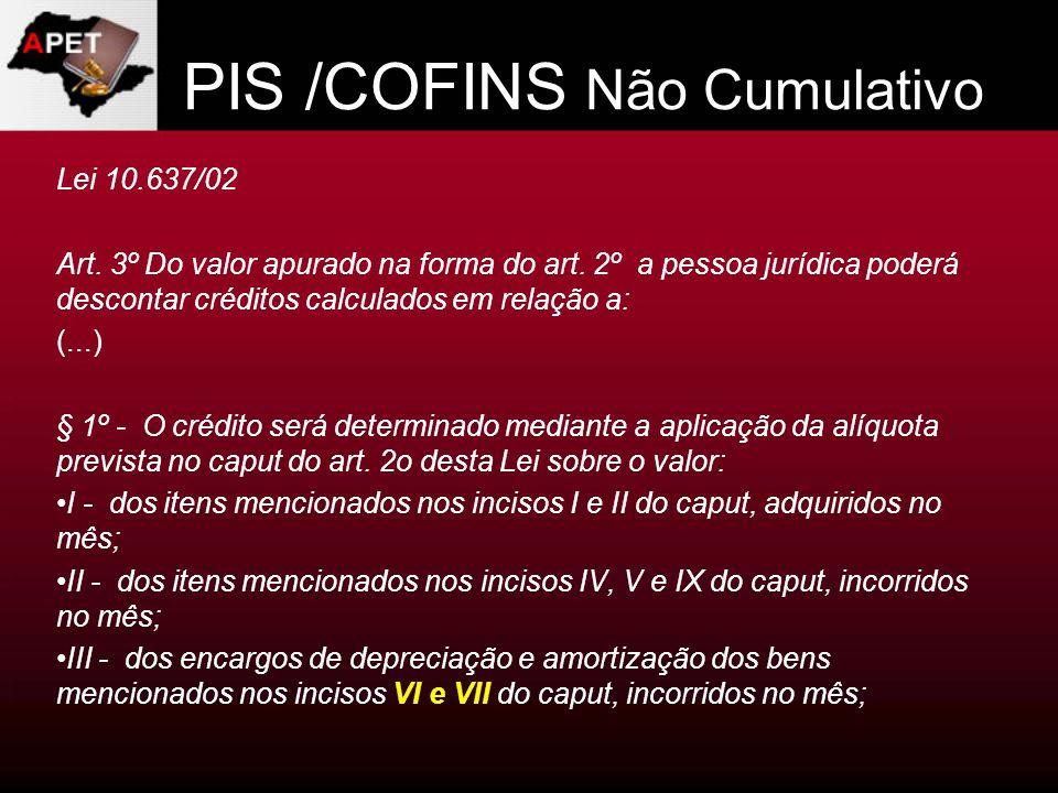 PIS /COFINS Não Cumulativo Lei 10.637/02 Art. 3º Do valor apurado na forma do art. 2º a pessoa jurídica poderá descontar créditos calculados em relaçã
