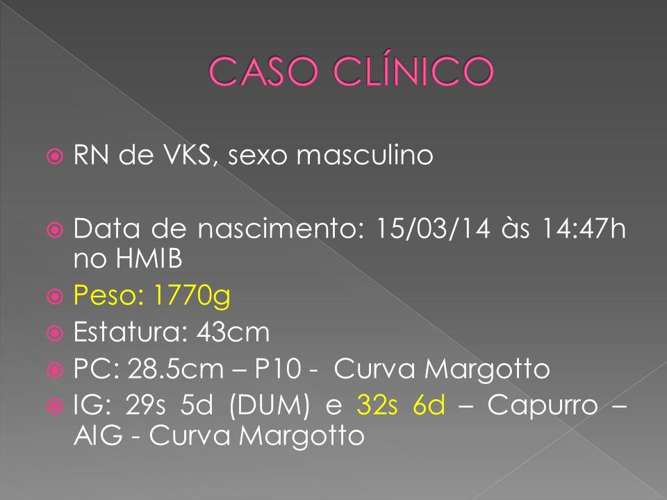  RN de VKS, sexo masculino  Data de nascimento: 15/03/14 às 14:47h no HMIB  Peso: 1770g  Estatura: 43cm  PC: 28.5cm – P10 - Curva Margotto  IG: