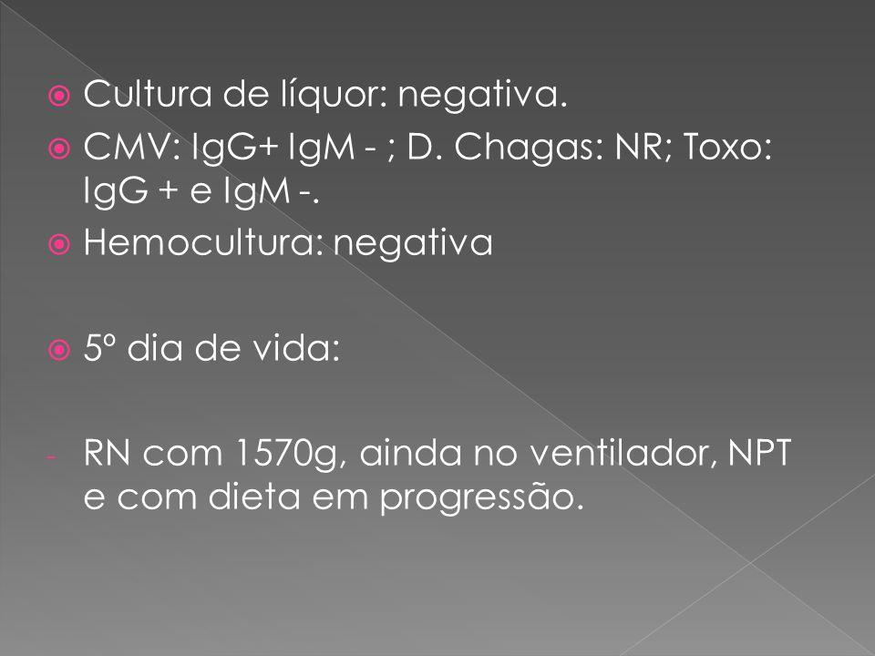  Cultura de líquor: negativa.  CMV: IgG+ IgM - ; D. Chagas: NR; Toxo: IgG + e IgM -.  Hemocultura: negativa  5º dia de vida: - RN com 1570g, ainda