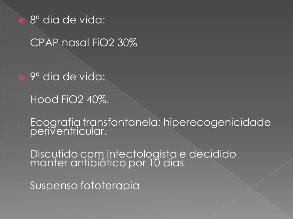  8º dia de vida: - CPAP nasal FiO2 30%  9º dia de vida: - Hood FiO2 40%. - Ecografia transfontanela: hiperecogenicidade periventricular. - Discutido
