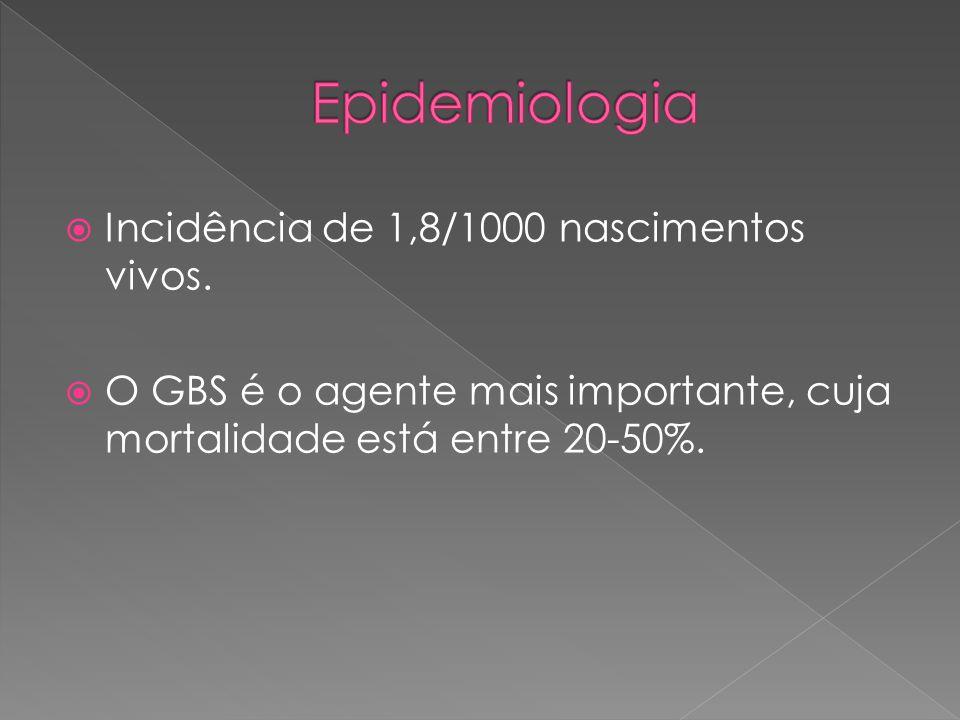  Incidência de 1,8/1000 nascimentos vivos.  O GBS é o agente mais importante, cuja mortalidade está entre 20-50%.