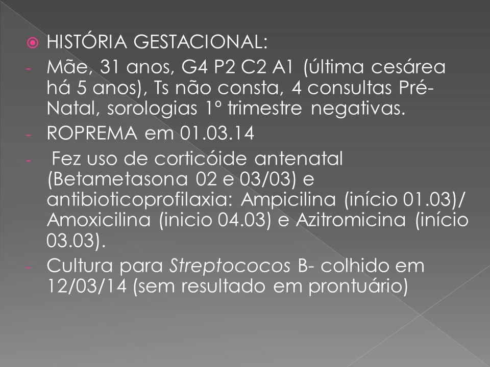  HISTÓRIA GESTACIONAL: - Mãe, 31 anos, G4 P2 C2 A1 (última cesárea há 5 anos), Ts não consta, 4 consultas Pré- Natal, sorologias 1º trimestre negativ