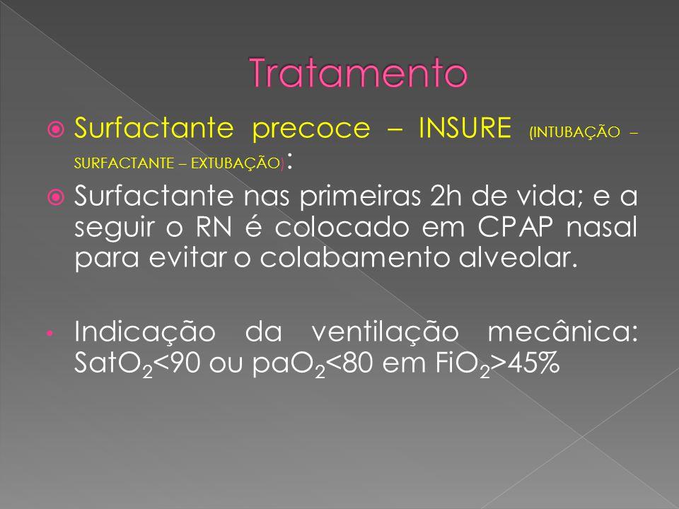  Surfactante precoce – INSURE (INTUBAÇÃO – SURFACTANTE – EXTUBAÇÃO) :  Surfactante nas primeiras 2h de vida; e a seguir o RN é colocado em CPAP nasa