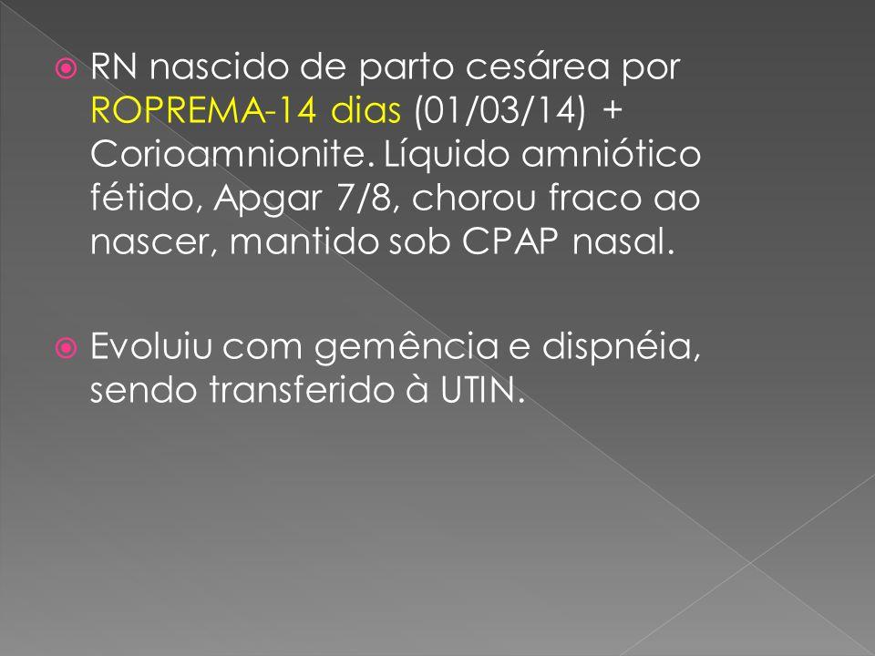  RN nascido de parto cesárea por ROPREMA-14 dias (01/03/14) + Corioamnionite. Líquido amniótico fétido, Apgar 7/8, chorou fraco ao nascer, mantido so