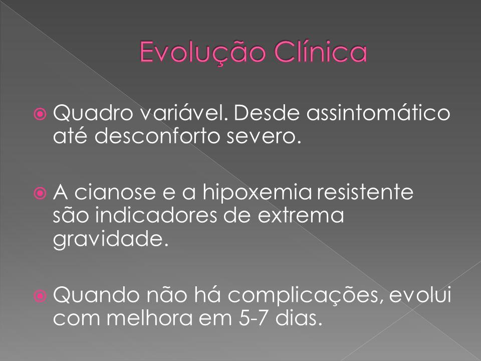  Quadro variável. Desde assintomático até desconforto severo.  A cianose e a hipoxemia resistente são indicadores de extrema gravidade.  Quando não