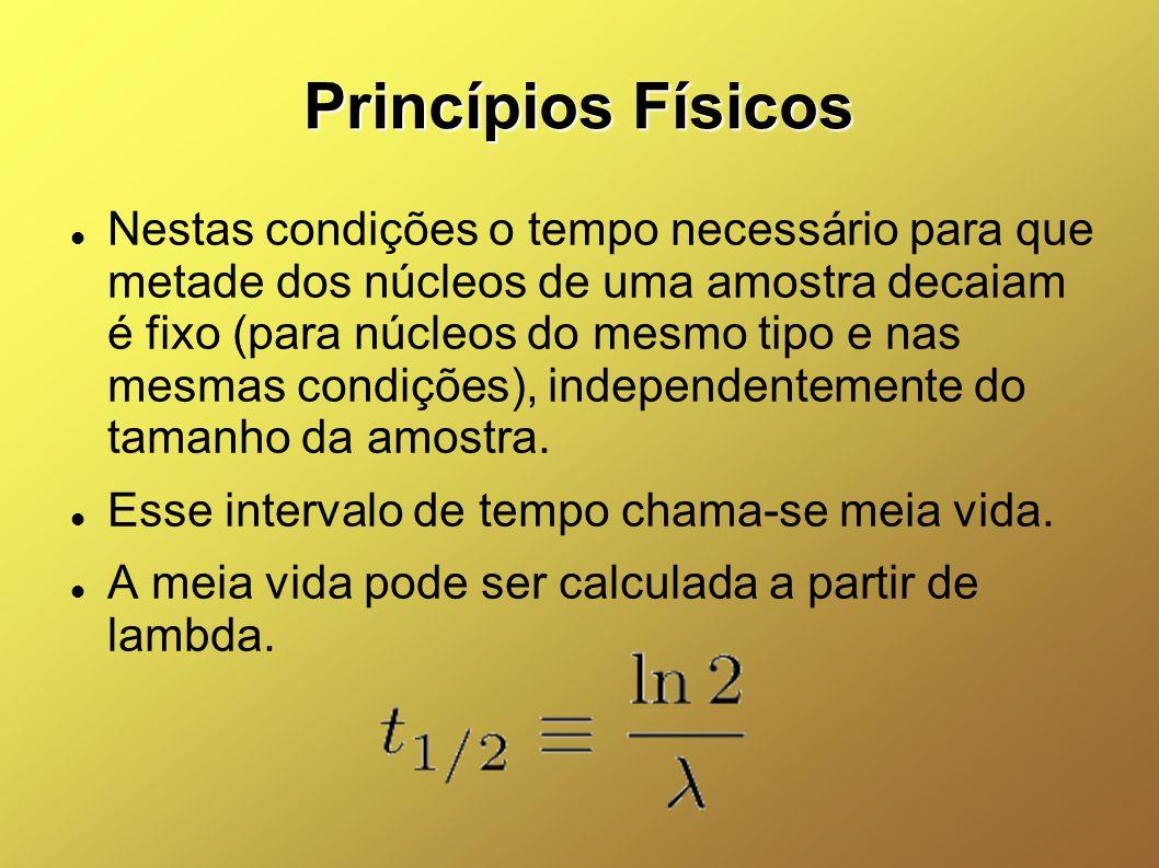 Princípios Físicos Nestas condições o tempo necessário para que metade dos núcleos de uma amostra decaiam é fixo (para núcleos do mesmo tipo e nas mes