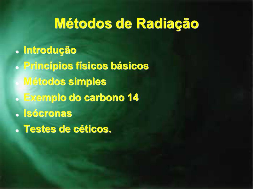 Métodos de Radiação Introdução Introdução Princípios físicos básicos Princípios físicos básicos Métodos simples Métodos simples Exemplo do carbono 14