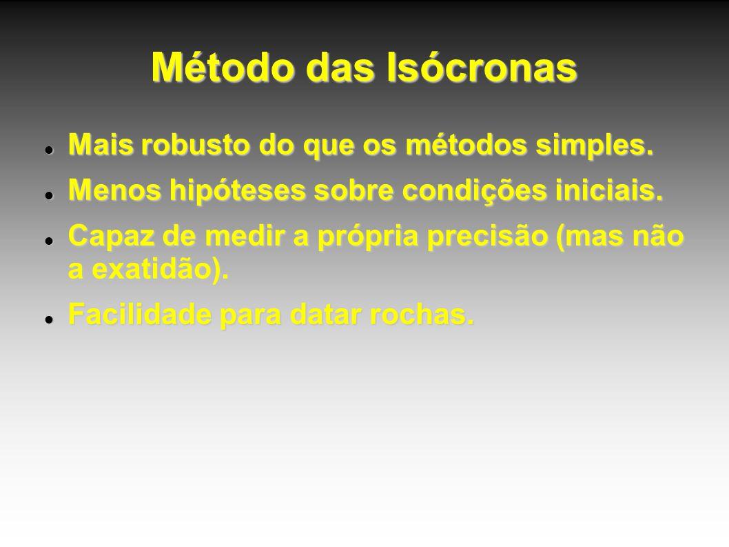 Método das Isócronas Mais robusto do que os métodos simples. Mais robusto do que os métodos simples. Menos hipóteses sobre condições iniciais. Menos h