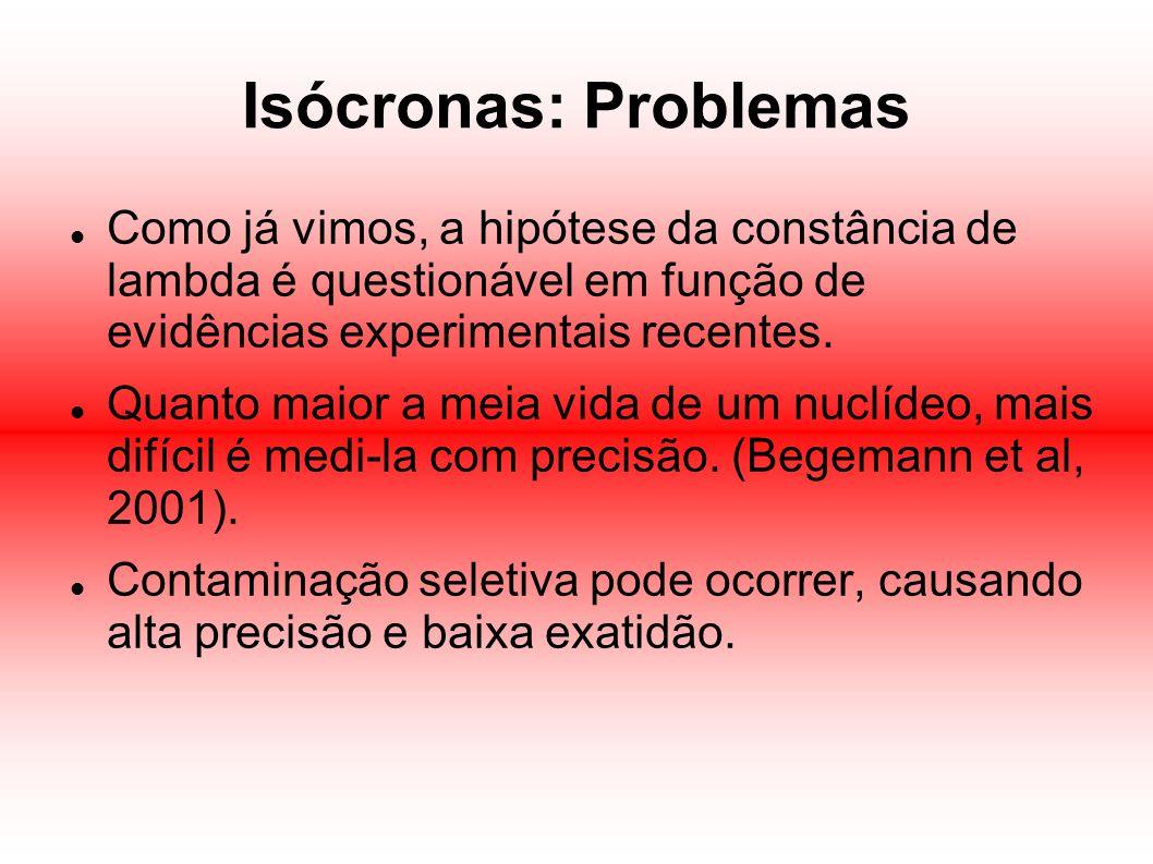 Isócronas: Problemas Como já vimos, a hipótese da constância de lambda é questionável em função de evidências experimentais recentes. Quanto maior a m