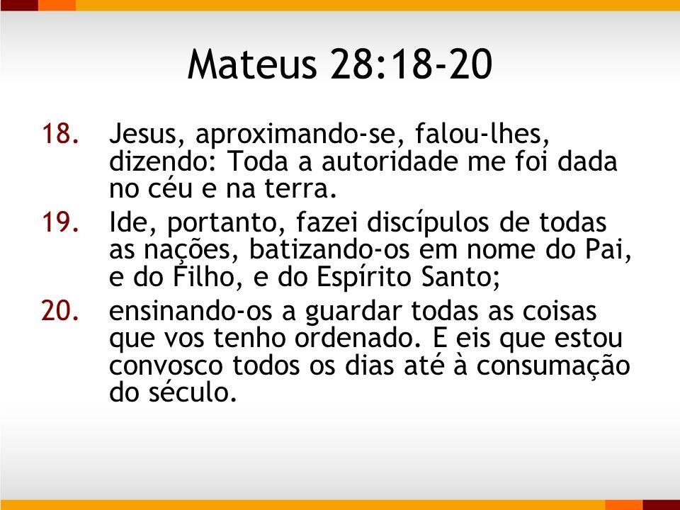 Mateus 28:18-20  Autoridade delegada  Ordem explicita  Um fato.