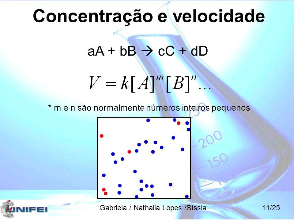Concentração e velocidade * m e n são normalmente números inteiros pequenos aA + bB  cC + dD Gabriela / Nathalia Lopes /Síssia11/25
