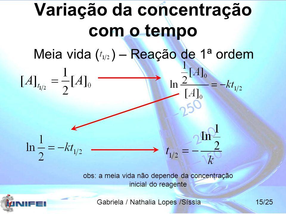 Variação da concentração com o tempo Meia vida ( ) – Reação de 1ª ordem obs: a meia vida não depende da concentração inicial do reagente Gabriela / Na