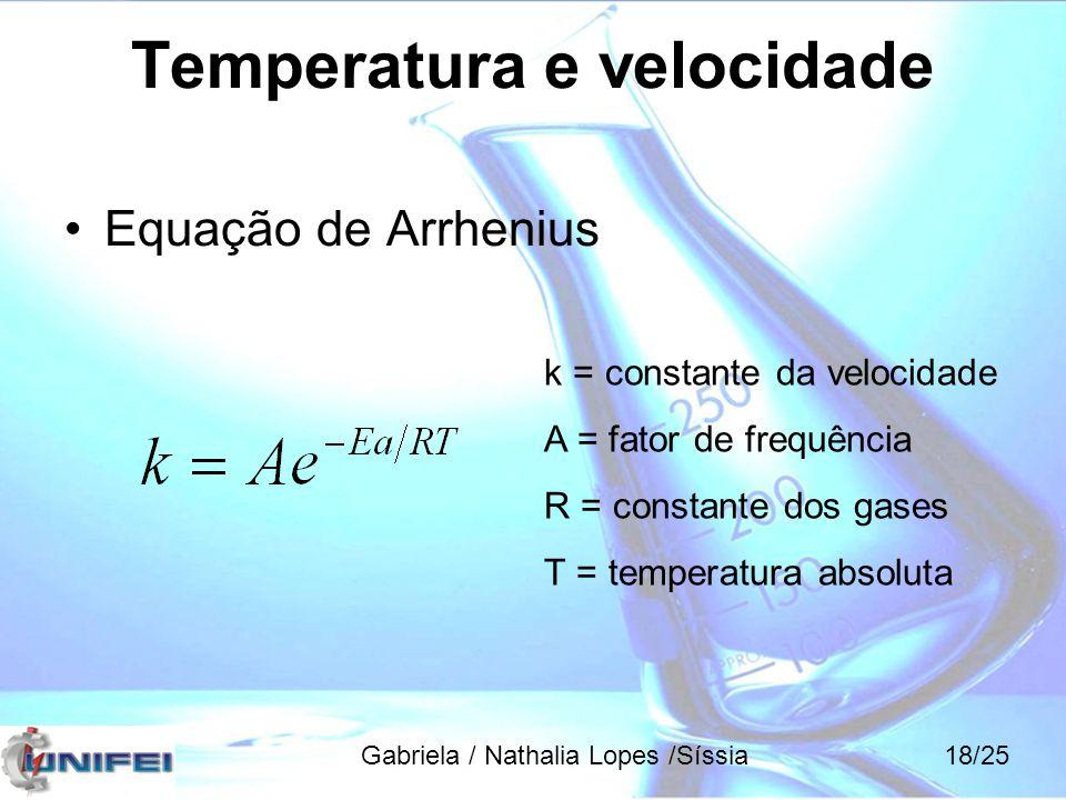 Equação de Arrhenius k = constante da velocidade A = fator de frequência R = constante dos gases T = temperatura absoluta Temperatura e velocidade Gab