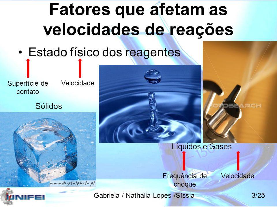 Fatores que afetam as velocidades de reações Estado físico dos reagentes Sólidos Superfície de contato Velocidade Líquidos e Gases Frequência de choqu
