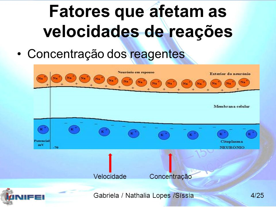 Fatores que afetam as velocidades de reações Temperatura Velocidade Gabriela / Nathalia Lopes /Síssia5/25