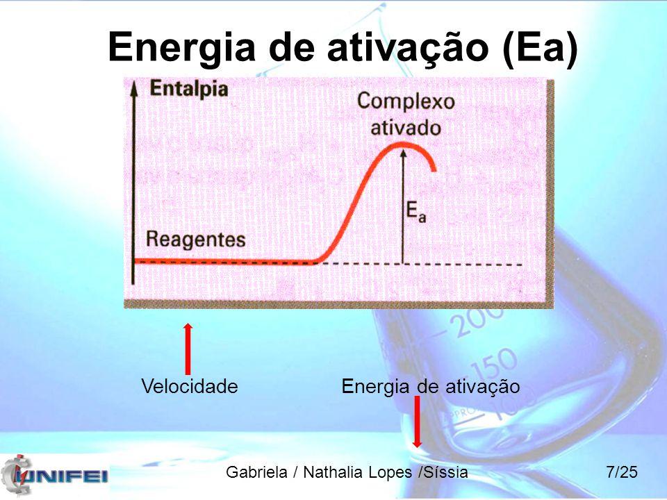 Equação de Arrhenius k = constante da velocidade A = fator de frequência R = constante dos gases T = temperatura absoluta Temperatura e velocidade Gabriela / Nathalia Lopes /Síssia18/25