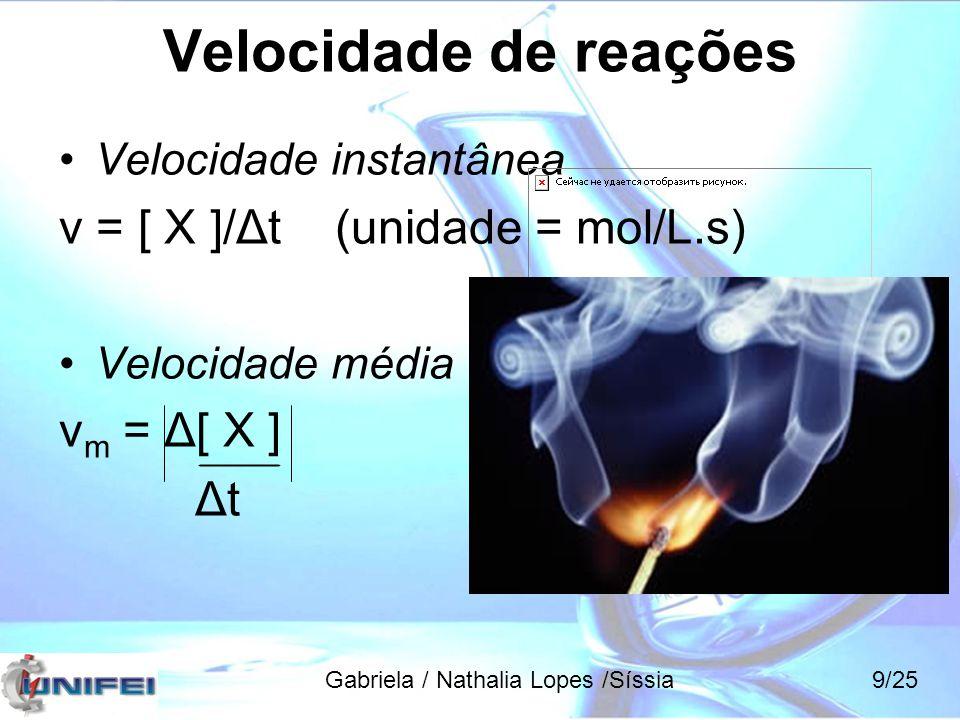Velocidade de reações aA + bB  cC + dD Reagente Produto Gabriela / Nathalia Lopes /Síssia10/25