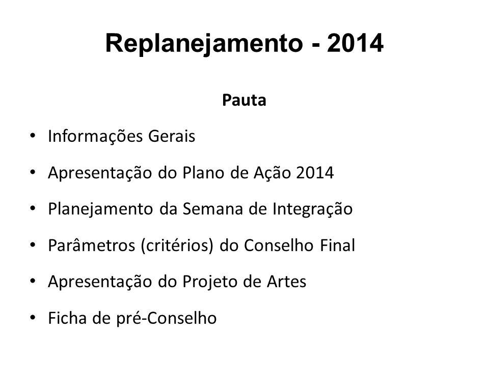 Replanejamento - 2014 Pauta Informações Gerais Apresentação do Plano de Ação 2014 Planejamento da Semana de Integração Parâmetros (critérios) do Conse