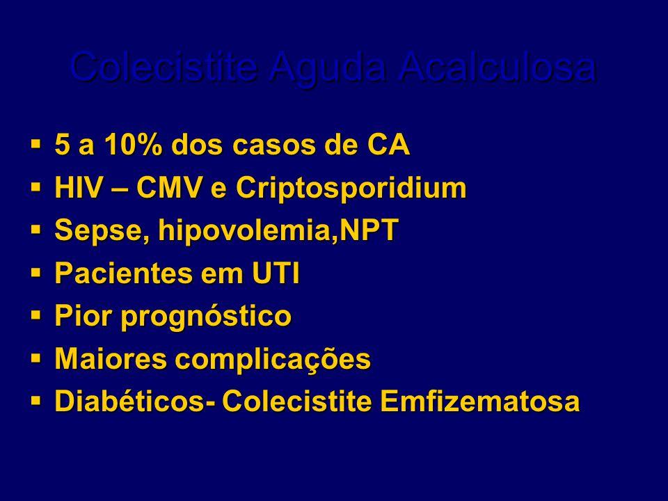 Colecistite Aguda Acalculosa  5 a 10% dos casos de CA  HIV – CMV e Criptosporidium  Sepse, hipovolemia,NPT  Pacientes em UTI  Pior prognóstico 