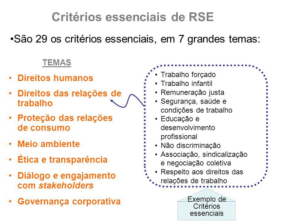 Critérios essenciais de RSE Direitos das relações de trabalho São 29 os critérios essenciais, em 7 grandes temas: Proteção das relações de consumo Dir