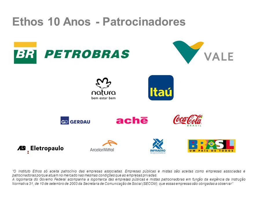 Ethos 10 Anos - Patrocinadores O Instituto Ethos só aceita patrocínio das empresas associadas.
