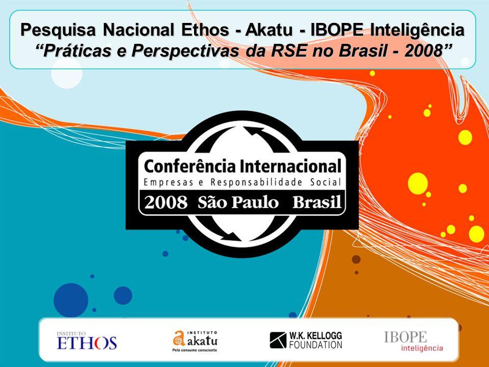 """Pesquisa Nacional Ethos - Akatu - IBOPE Inteligência """"Práticas e Perspectivas da RSE no Brasil - 2008"""""""