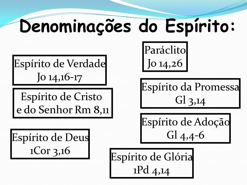 Denominações do Espírito: Paráclito Jo 14,26 Espírito de Verdade Jo 14,16-17 Espírito da Promessa Gl 3,14 Espírito de Adoção Gl 4,4-6 Espírito de Cristo e do Senhor Rm 8,11 Espírito de Deus 1Cor 3,16 Espírito de Glória 1Pd 4,14